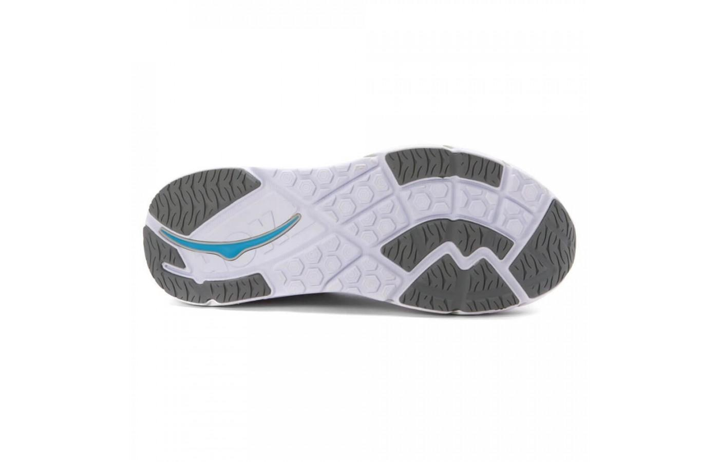 The outsole of the Hoka One One Valor designed to provide continual ground contact