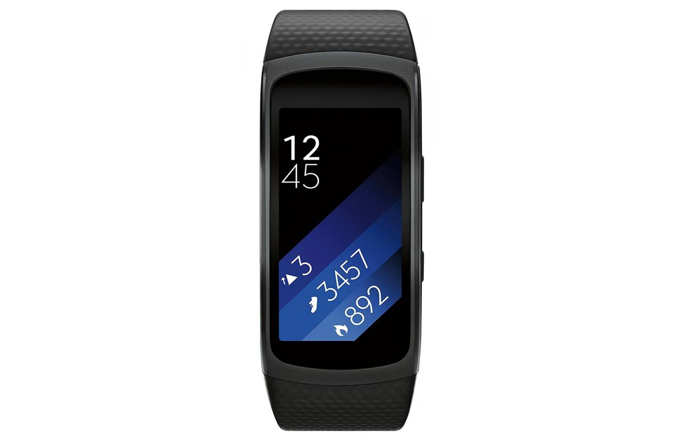 the Samsung Gear Fit2 has a curved full-color touch screen