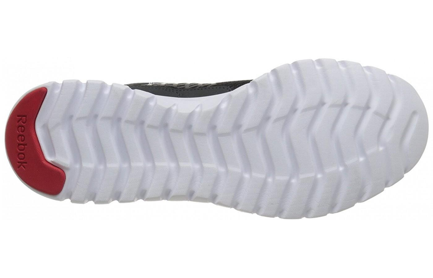 The outsole is designed with flex grooves that add flexibililty