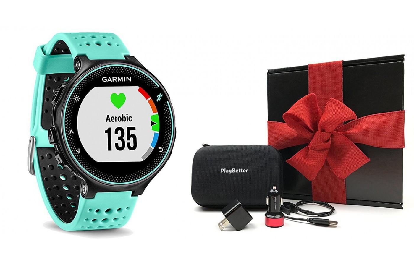 Garmin Forerunner 235 with accessories
