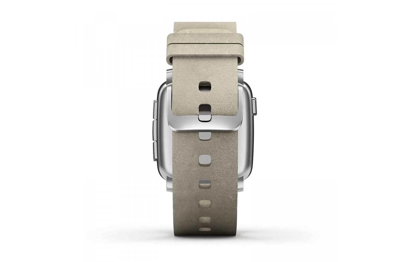 The Pebble Time Steel's included leather band