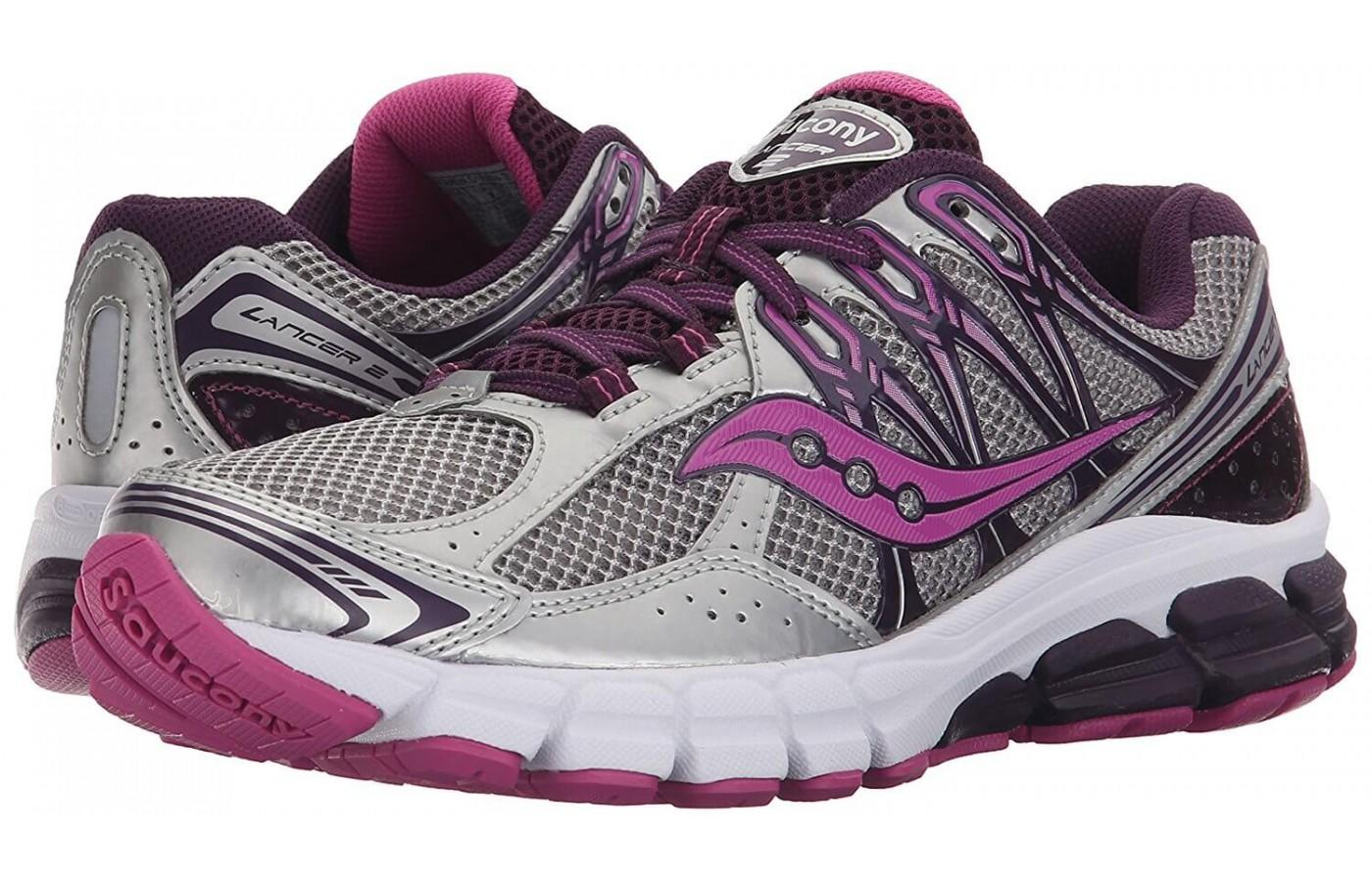 Saucony Lancer 2 women's color offering with grey and fuchsia accents