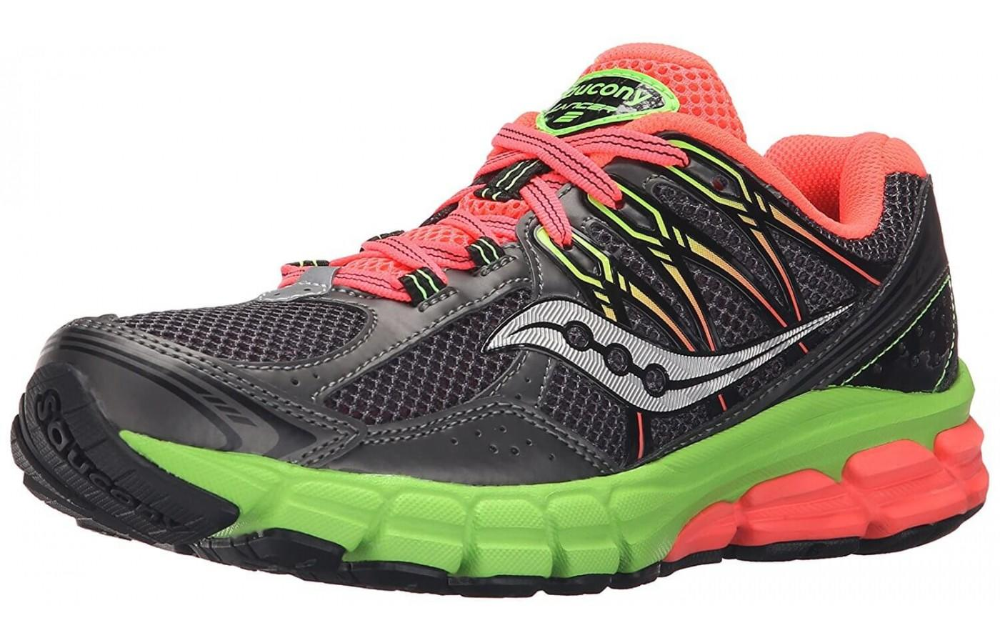 Saucony Lancer 2 black color with neon accents