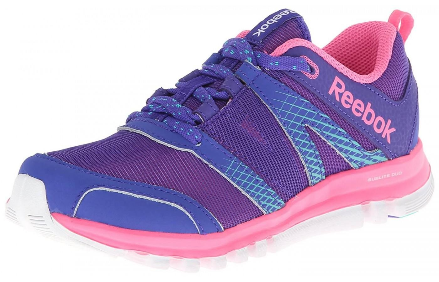 The woman's shoe offers more vibrant color options