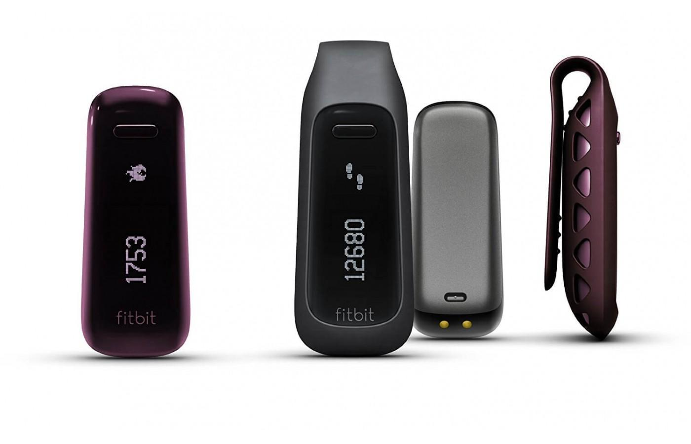 the Fitbit One comes in different colors and is worn clipped to the user's clothing