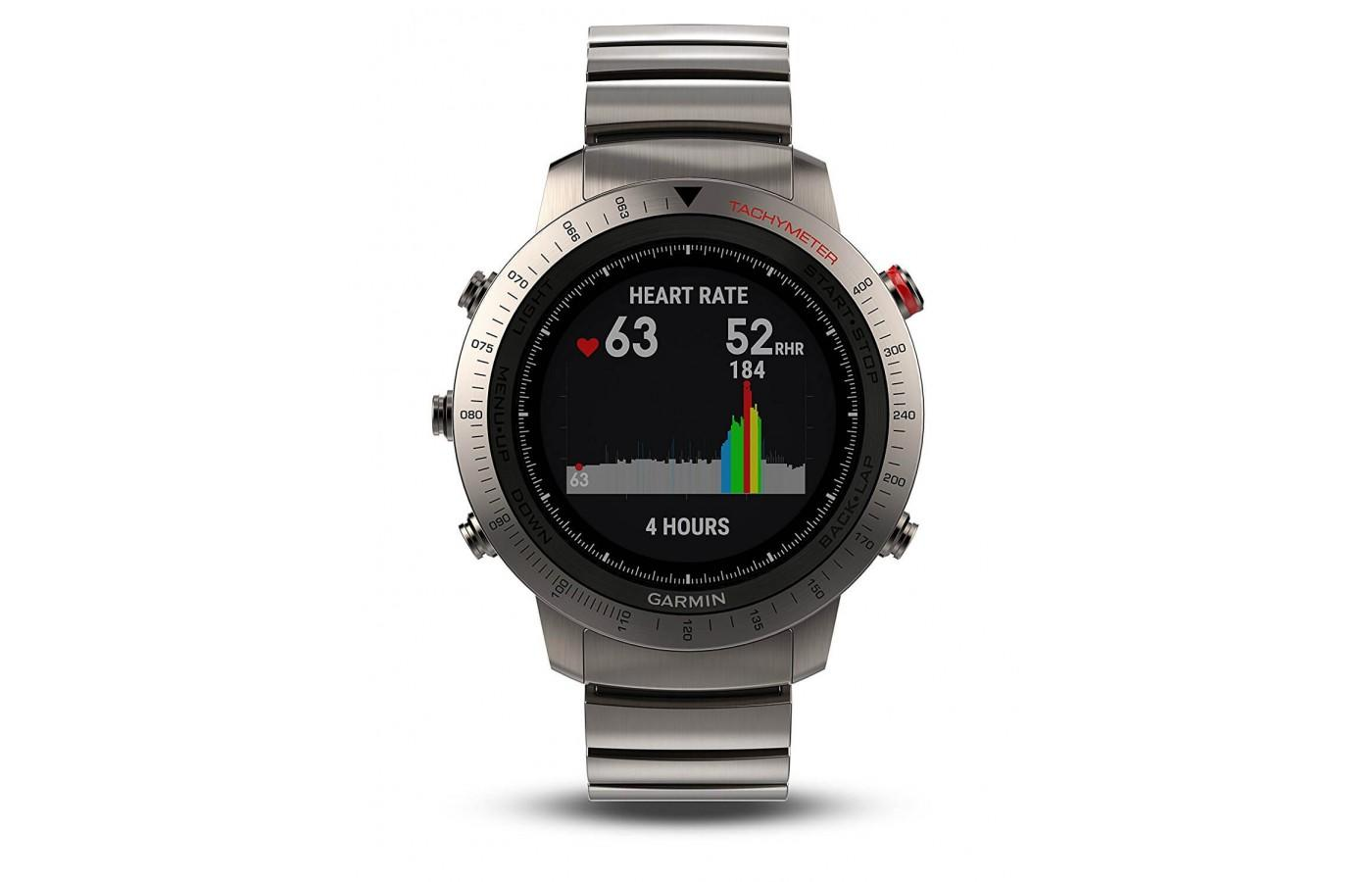 The Fenix Chronos has a built in heart rate monitor