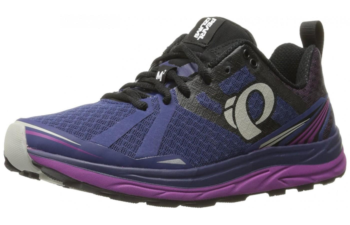 Pearl Izumi EM Trail M2 V3 features large brand logo on side of the shoe