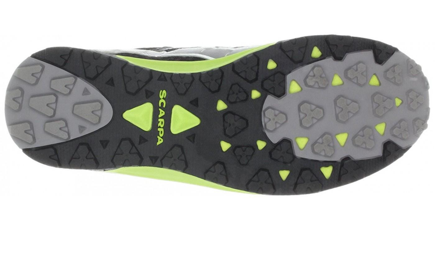 the Scarpa Spark's outsole is covered with 2.5mm lugs
