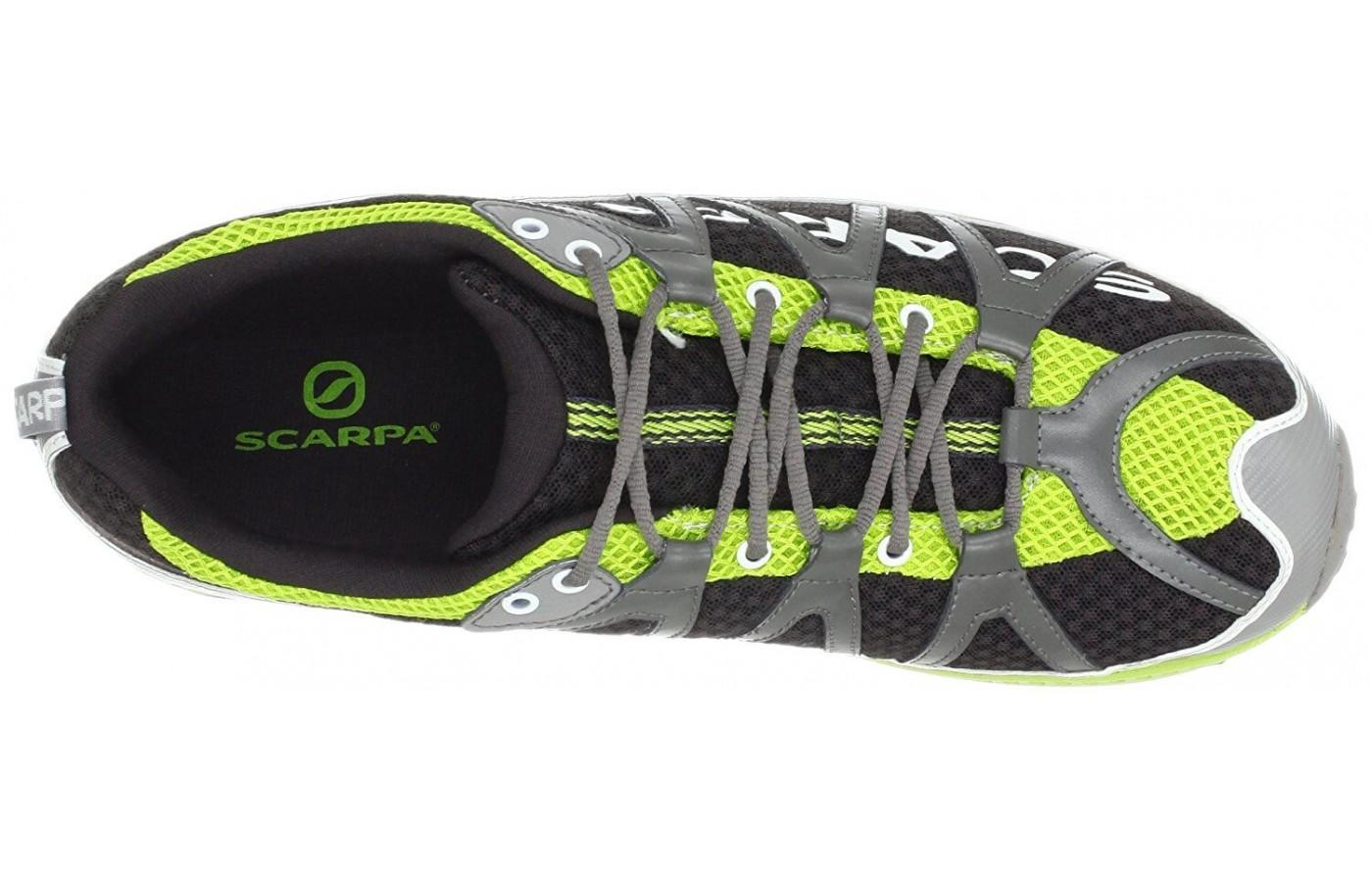 the Scarpa Spark features a unique lace-up configuration