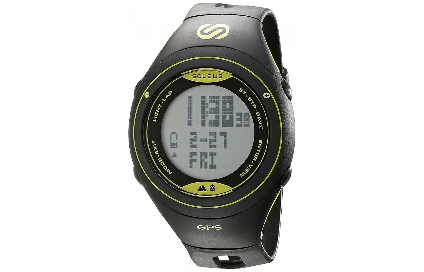 Soleus GPS Cross Country Fitness Watch in Black/Lime