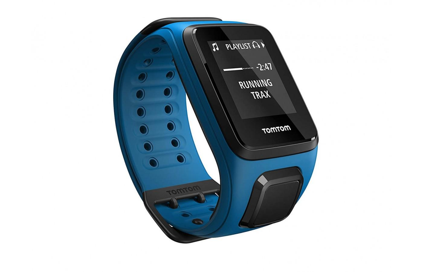 The Tom Tom Spark 3 Music with headphones has stylish interchangeable watchbands.
