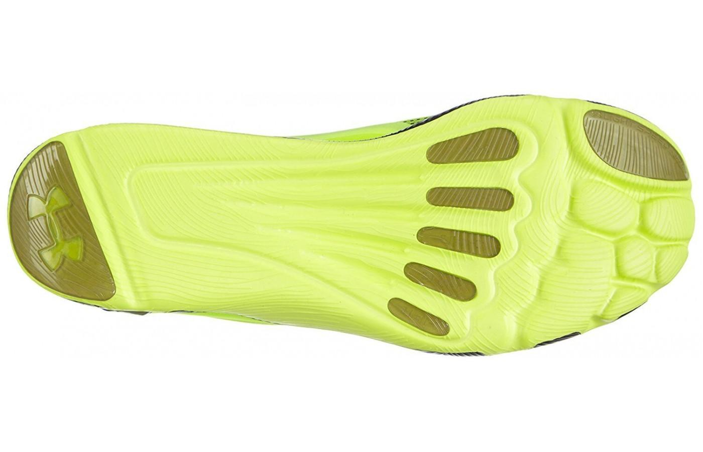 the outsole of the Under Armour SpeedForm RC Vent forms to the shape of the wearer's foot for support and cushioning