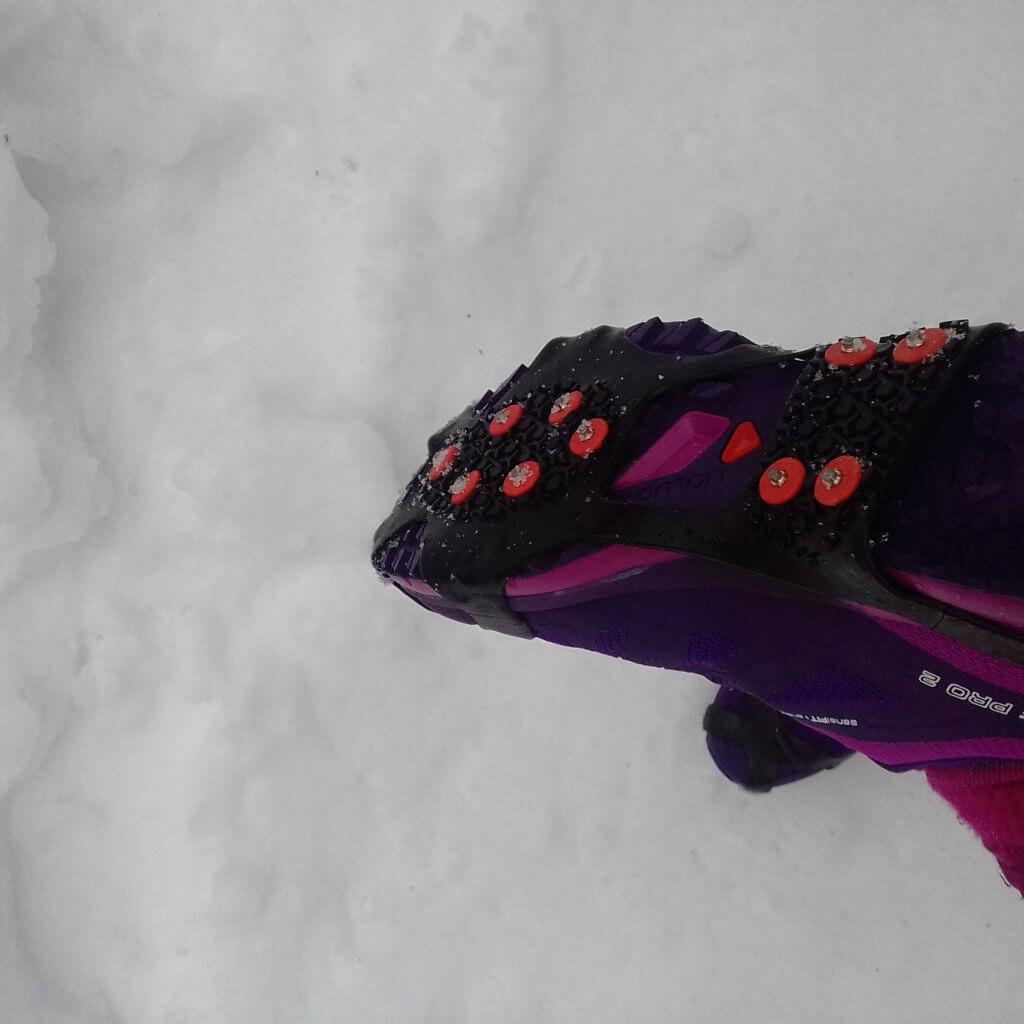 nano spikes on for winter trail running shoes
