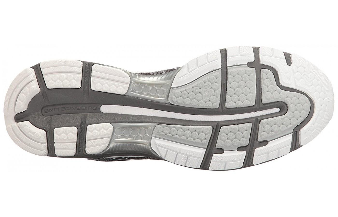 The durable rubber outsole of the ASICS Gel Nimbus 19 is constructed with ASICS High-Abrasion Rubber.