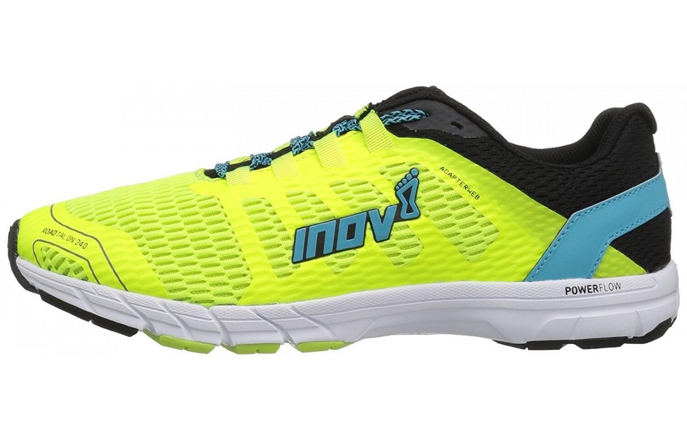 The POWERFLOW midsole technology used in the Inov-8 Roadtalon 240 offers better shock absorption and energy return.