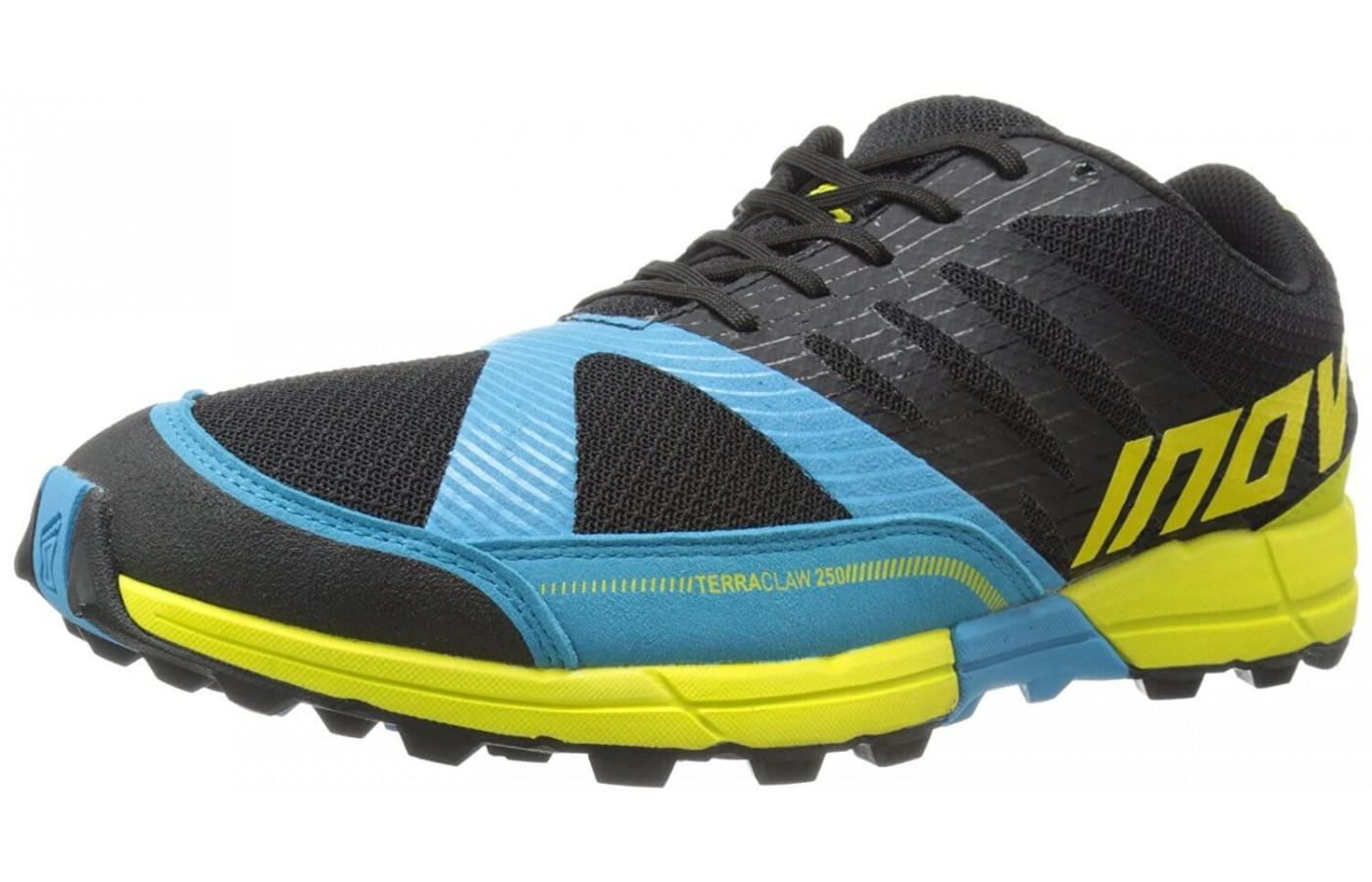 The Inov-8 Terraclaw 250 shown from the front/side