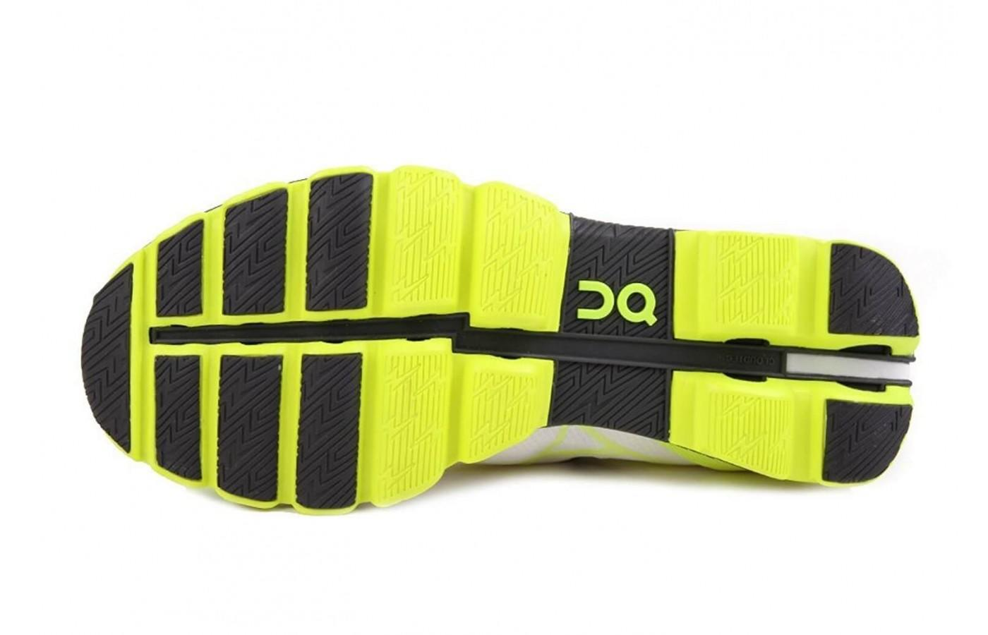 the outsole of the On Cloudflash has numerous lugs for great traction