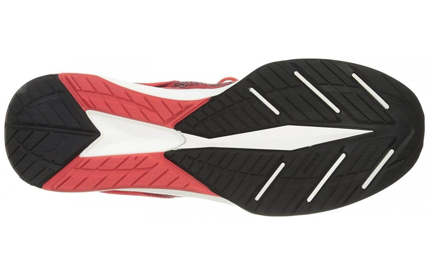 the outsole of the Puma Ignite evoKnit is outfitted with numerous flex grooves