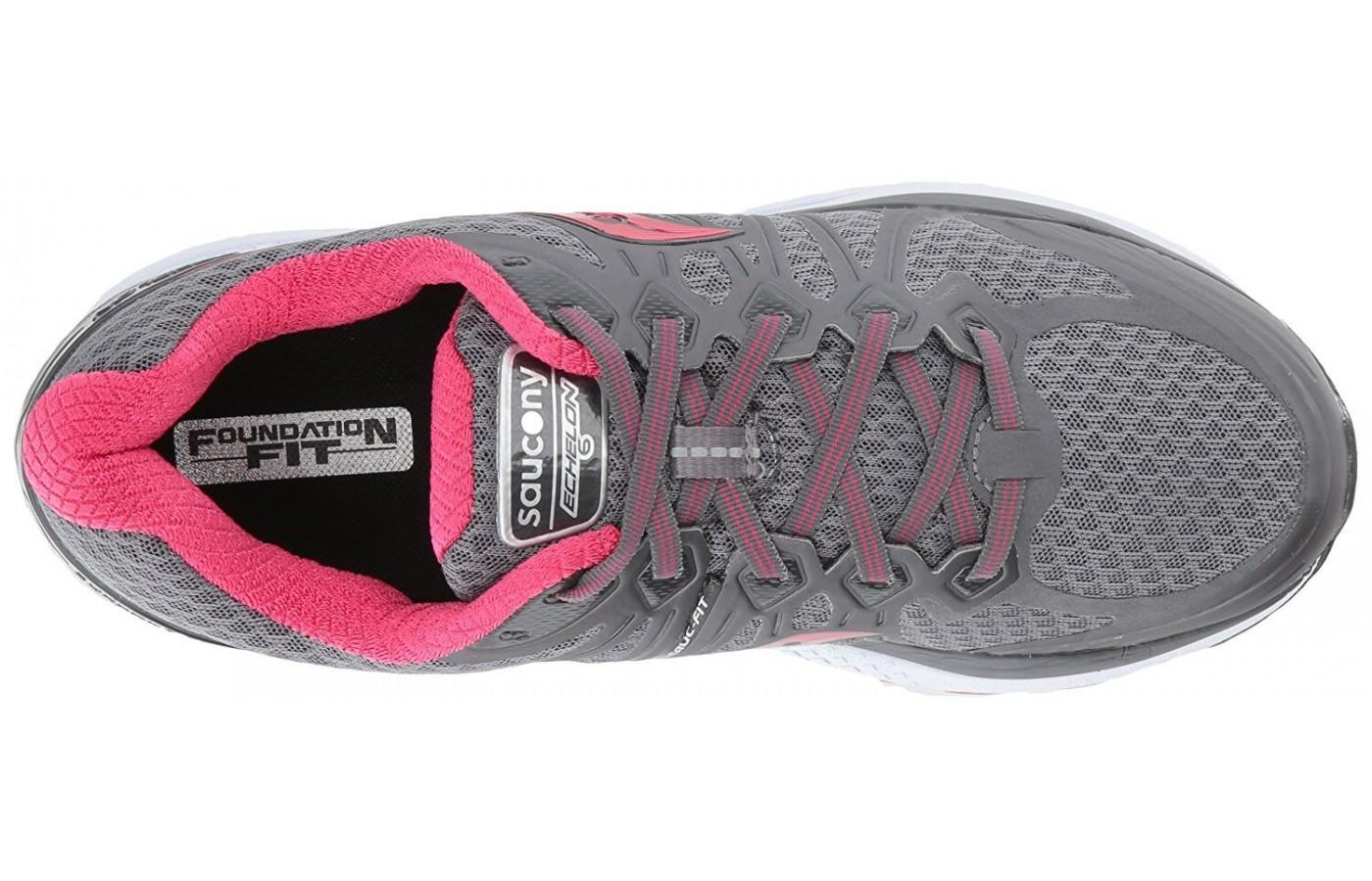 The upper of the Saucony Echelon 6 is designed for wide and narrow foot types