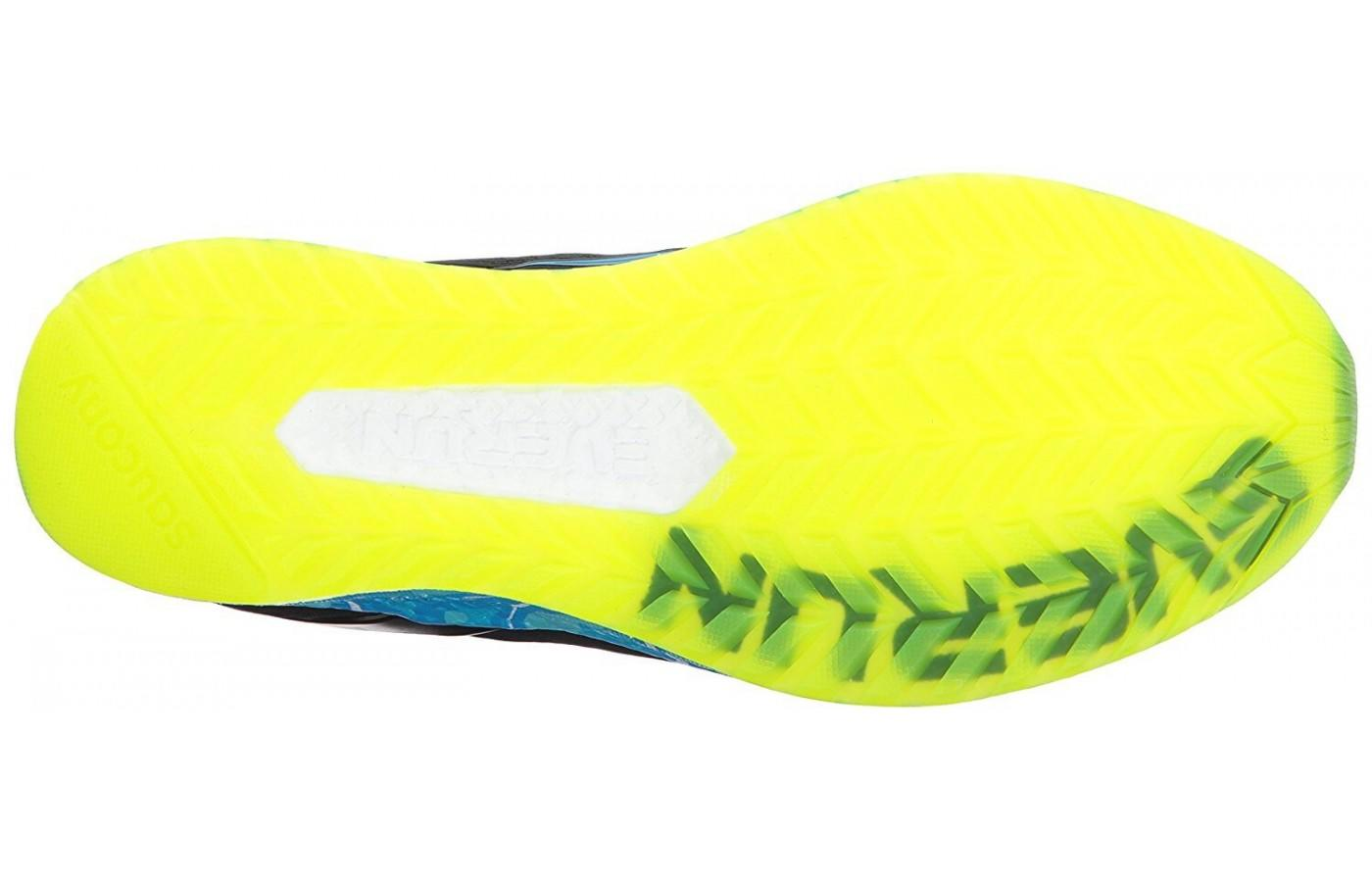 The crystal-rubber outsole of the Saucony Freedom ISO is one of the biggest pros.