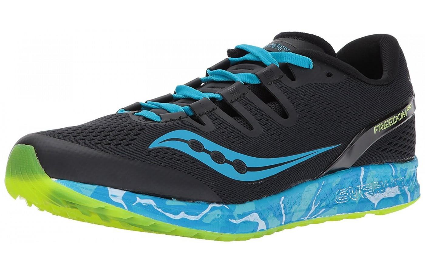 The Saucony Freedom ISO shown from the front/side.
