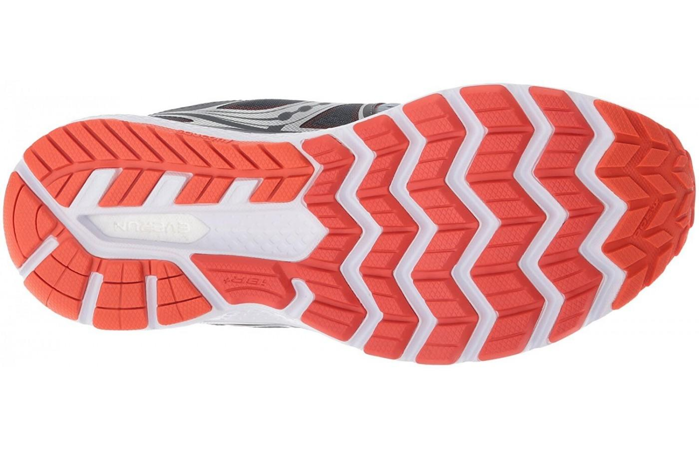 The TRI-FLEX outsole pattern of the Saucony Triumph ISO 3 running shoe