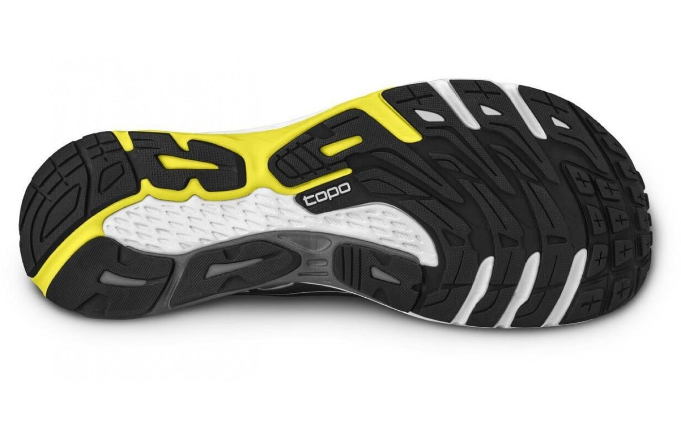 the outsole of the Topo Athletic Ultrafly features tenacious lugs for great traction