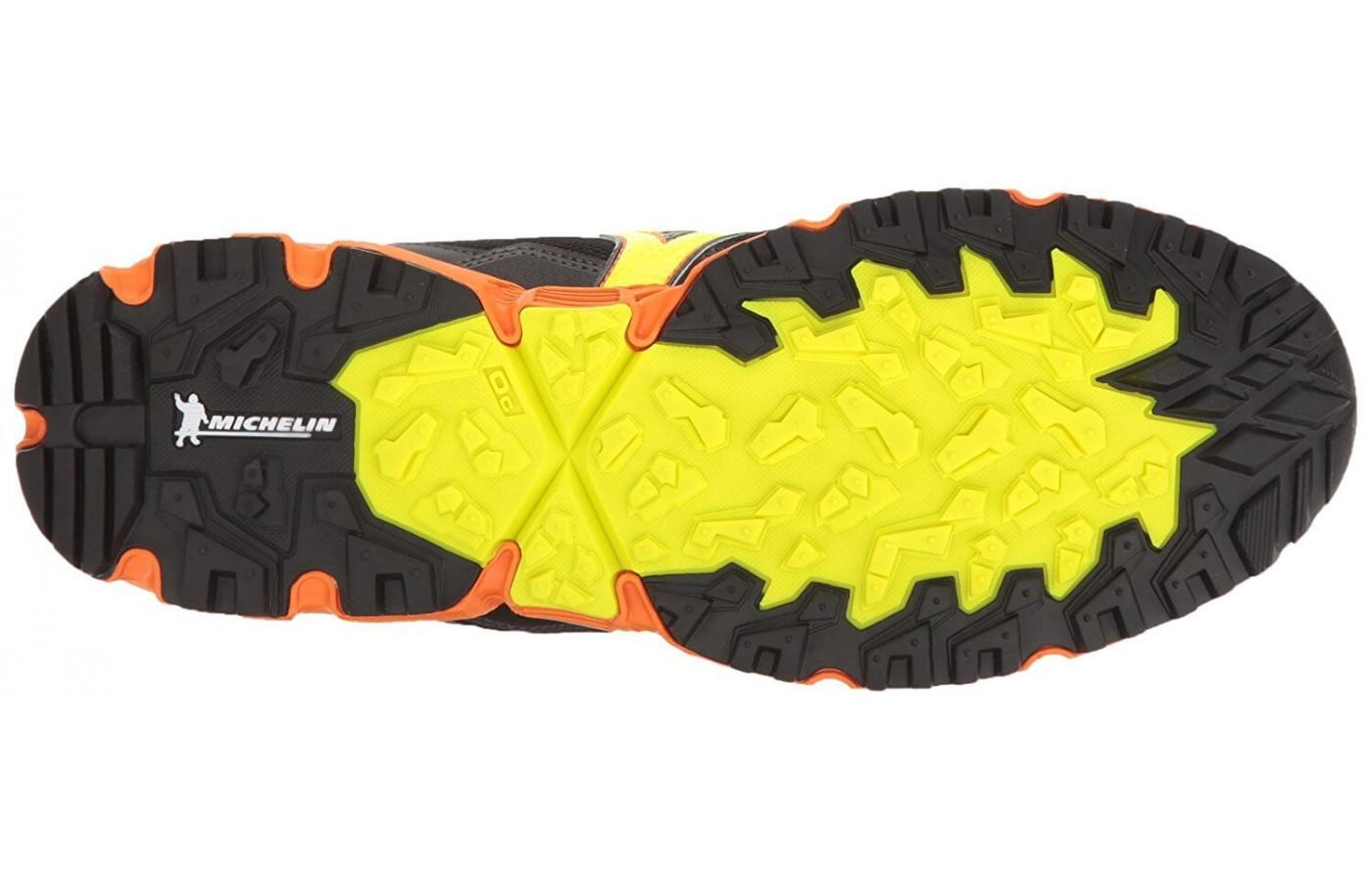 The outsole features Michelin rubber and aggressive lugs.