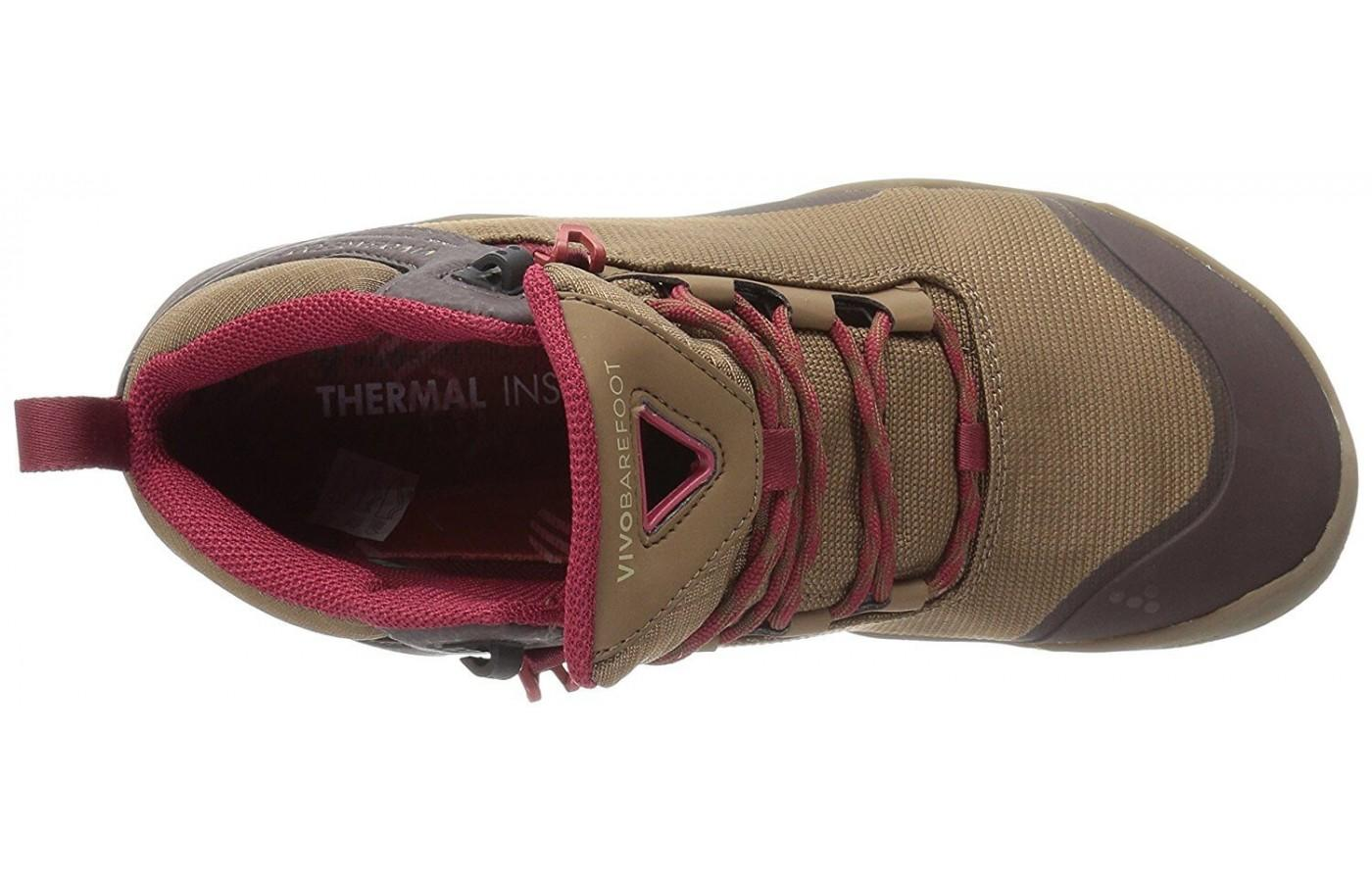 The thermal interior helps regulate the temperature of the shoe.