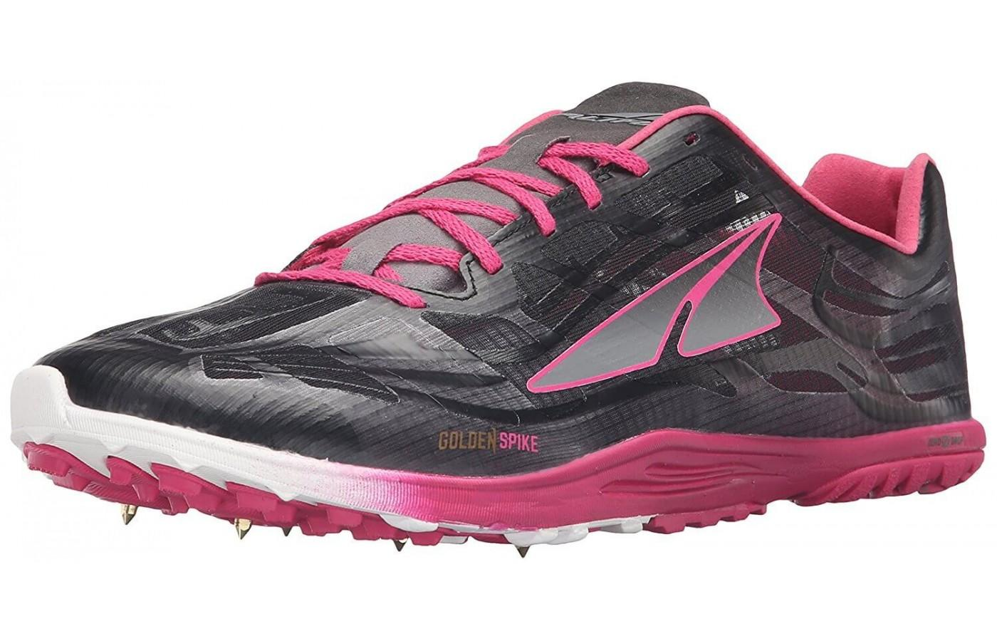 the Altra Golden Spike is a zero drop minimalist shoe with removable spikes