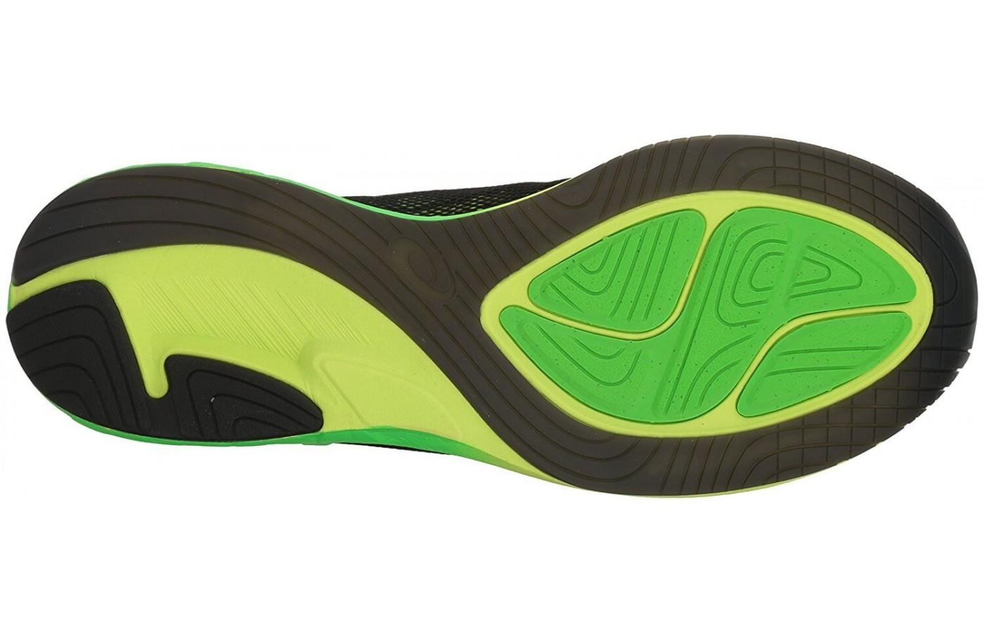 the outsole of the Asics Noosa FF is made from three different rubber compounds