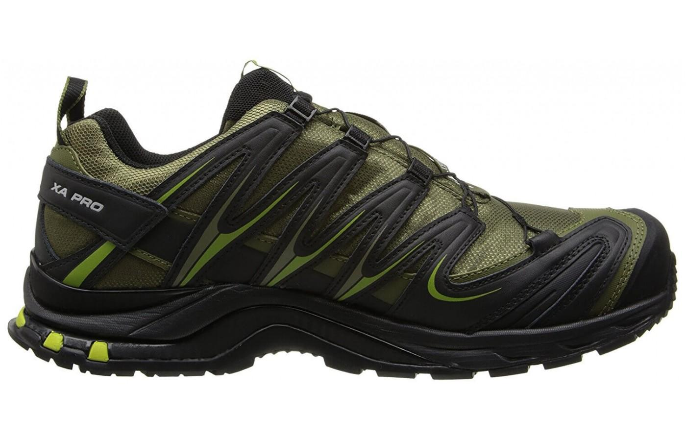 the Salomon XA Pro 3D CS WP is covered with SensiFit overlays for structure and added stability