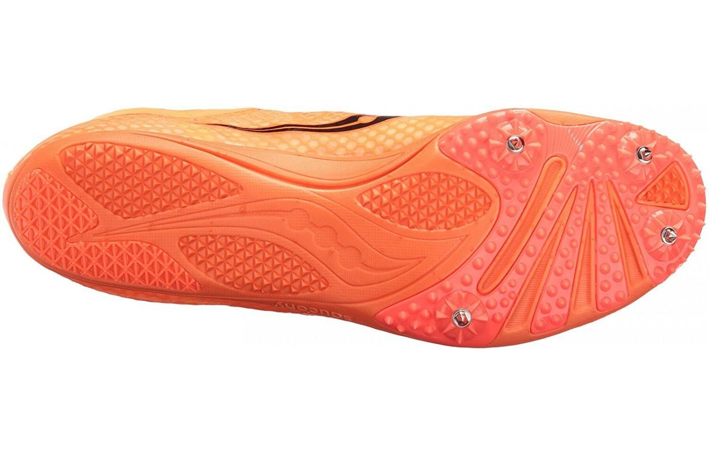 the Saucony Endorphin Pebax 4 spike base plate