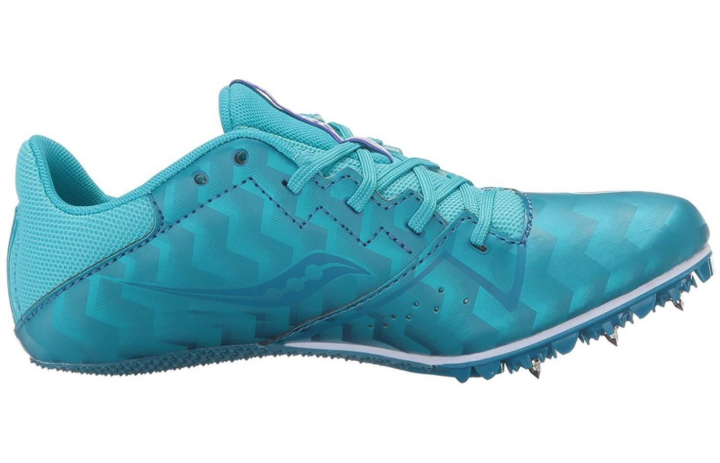 The Saucony Spitfire 4 has a supportive molded quarter cage