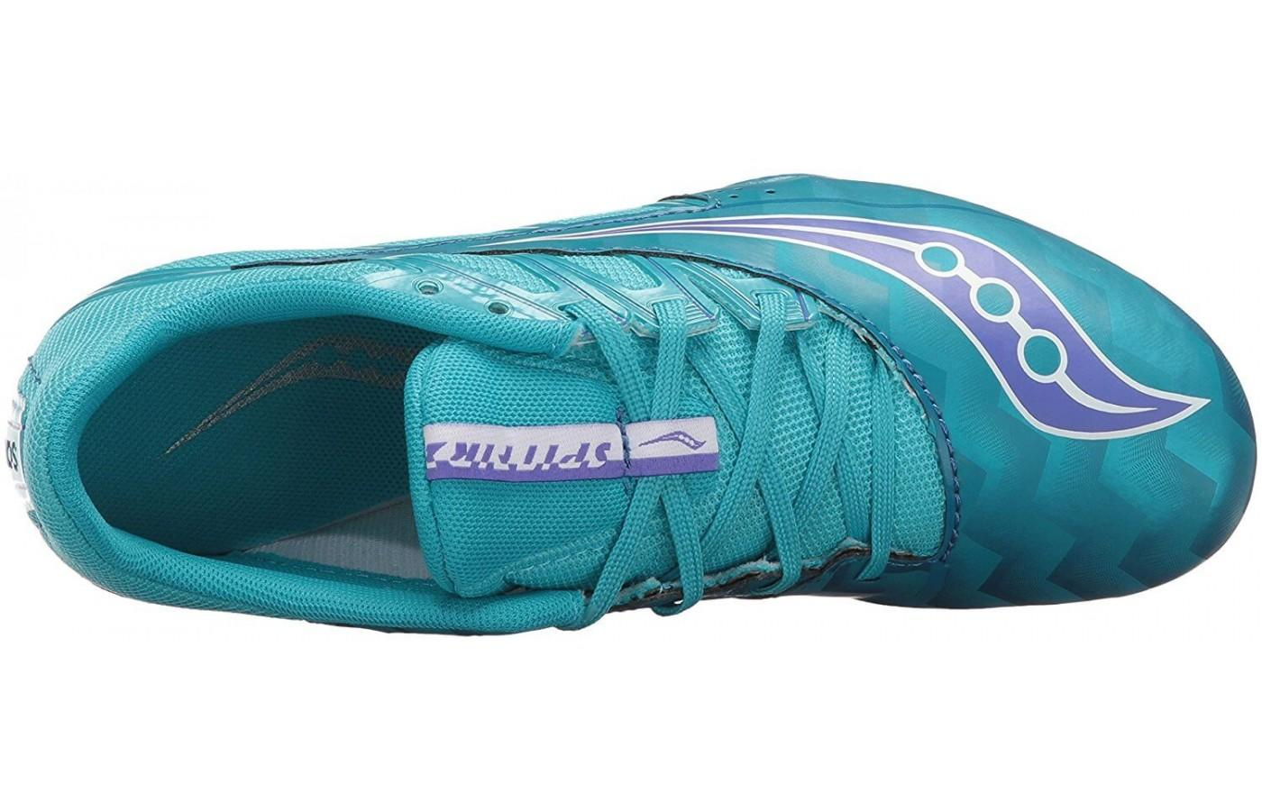 The Saucony Spitfire 4 has a lightweight upper with synthetic overlays to keep the foot in place