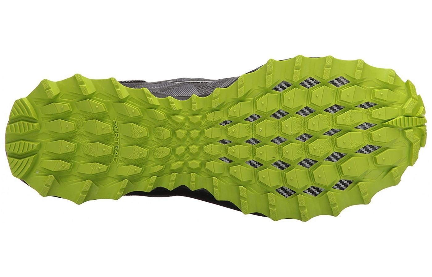 Underfoot the Saucony Peregrine 7 has a PWRTRAC outsole