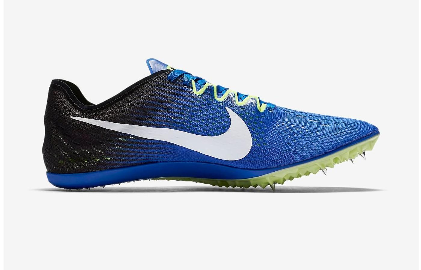 Six track spikes are embedded in the forefoot and arch of this running shoe.