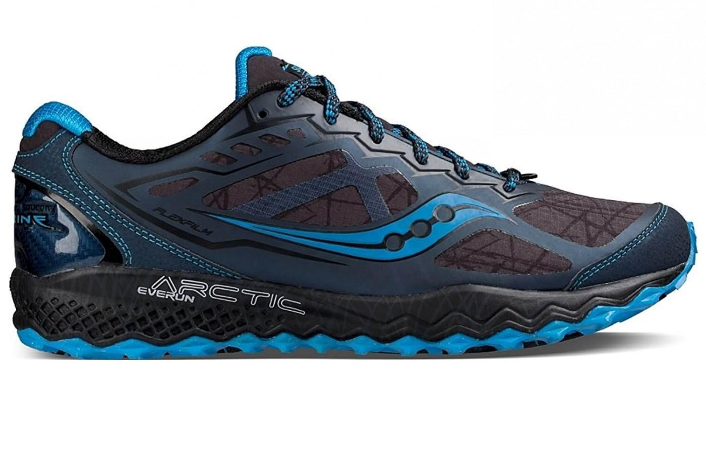 The Saucony Peregrine 6 Ice + is a tough shoe designed for winter trail running.