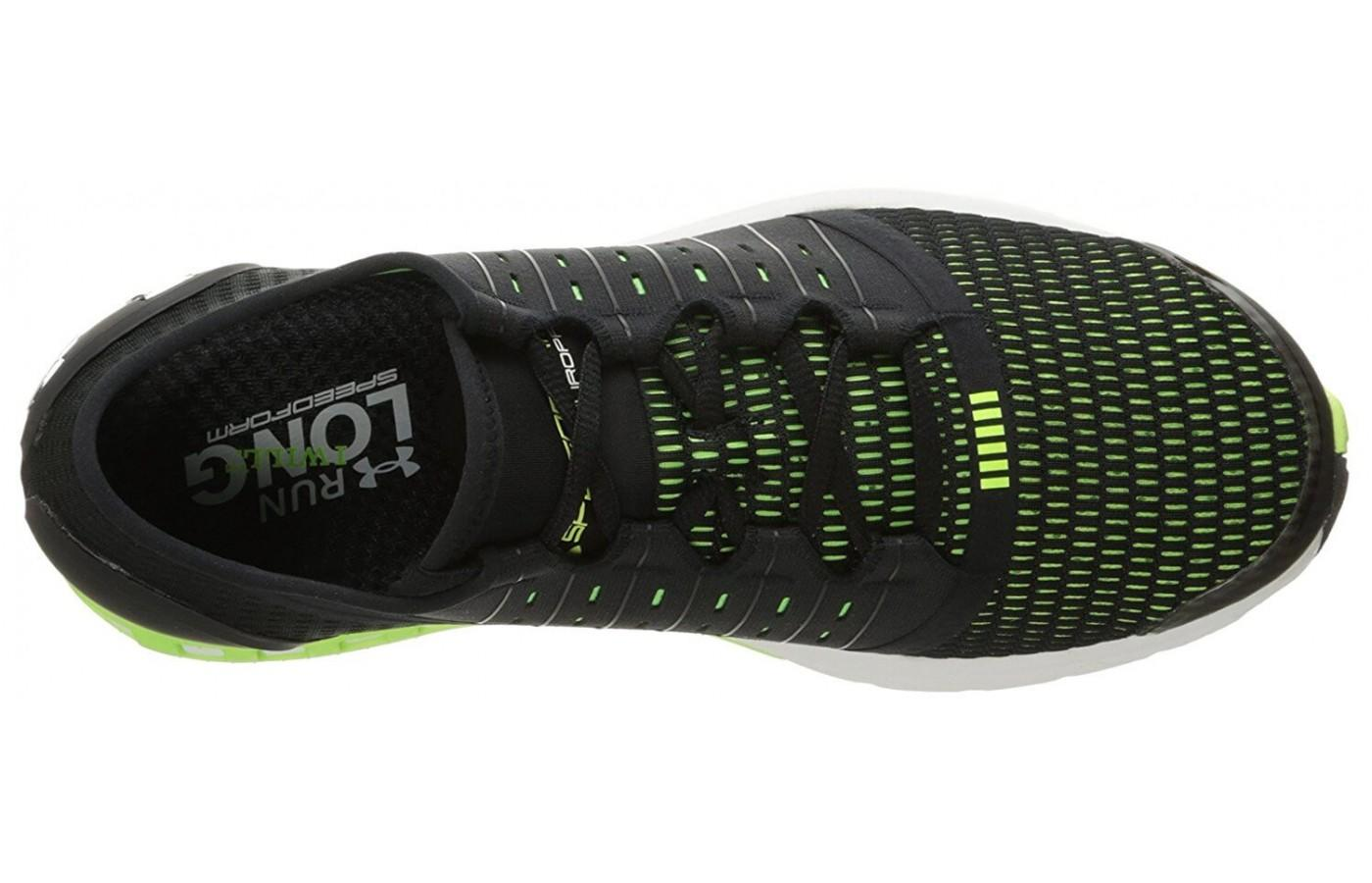 Straps on the medial and lateral side of the Speedform Europa's upper provide a snug fit.