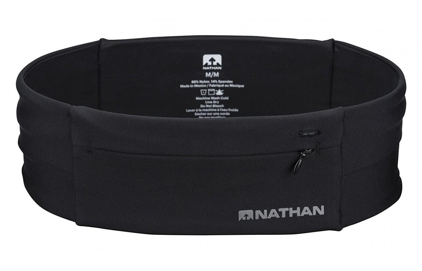 The Nathan Zipster Belt is made of stretchy fabric