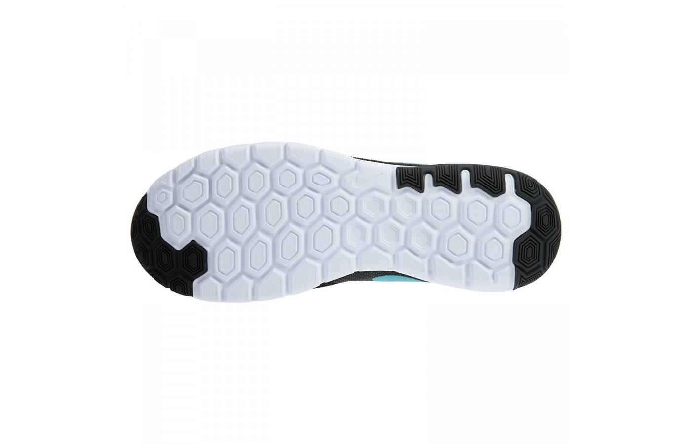 The outsole of the Nike Flex Experience RN 6 is durable and the hexagonal lugs provide a natural ride
