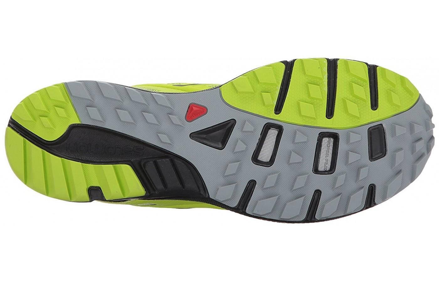 The outsole features an aggressive lug system of added traction