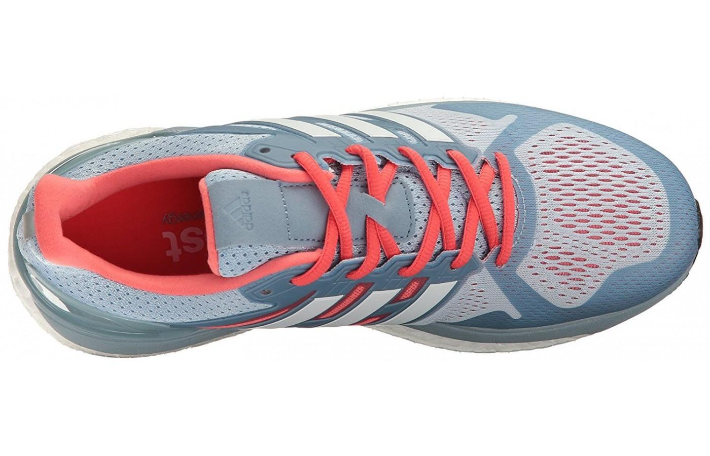 breathable mesh of the upper and the plastic overlays work in concert to provide a supportive, comfortable fit