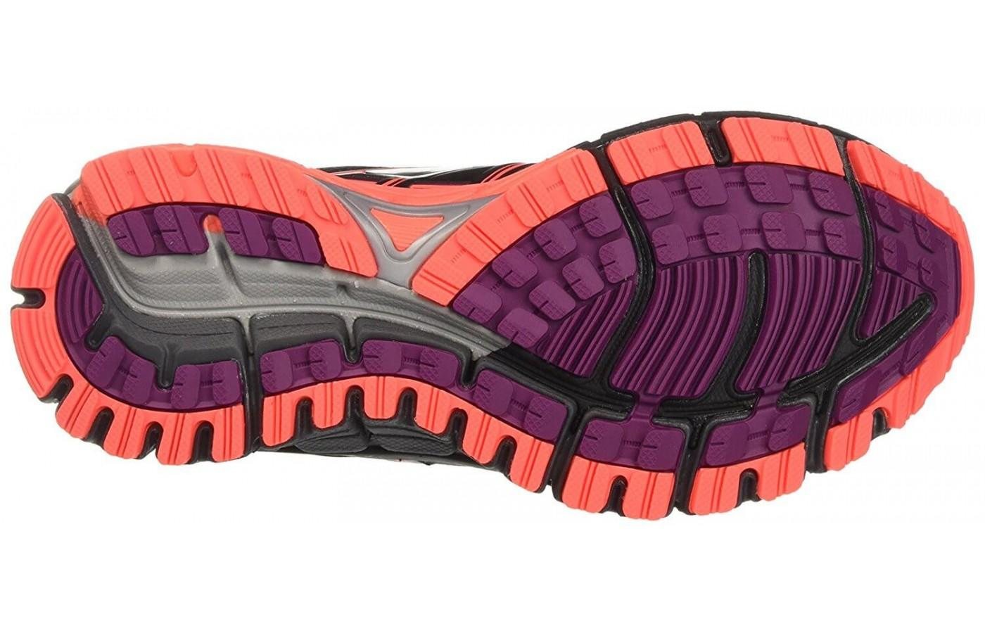 the raised lugs on the outsole will work on a variety of trail terrain