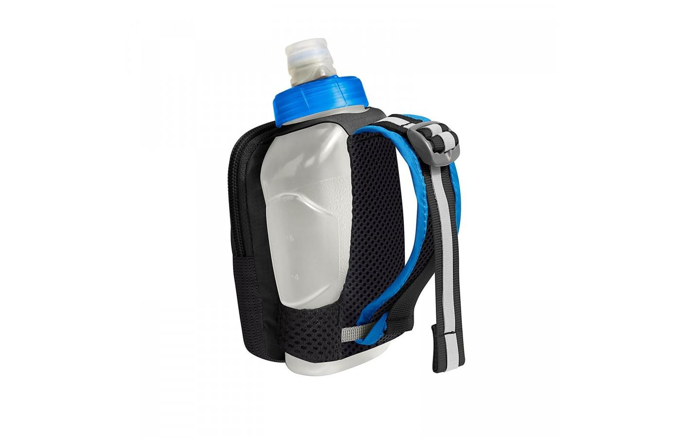The Camelbak Arc Quick Grip Handheld Water Bottle's hand strap is adjustable