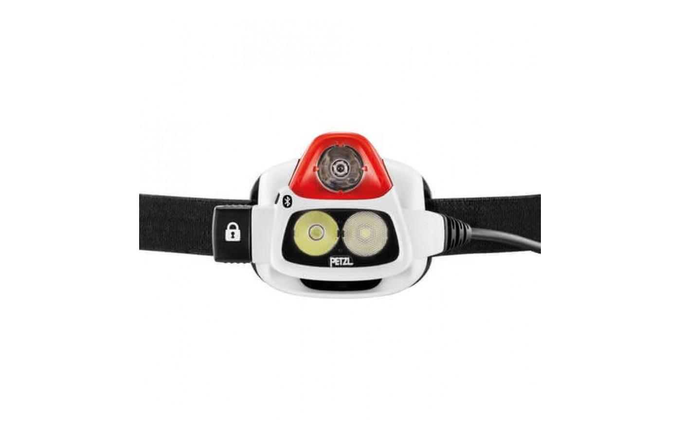 The Petzl NAO+ Headlamp can produce a wide beam of light or a spotlight.