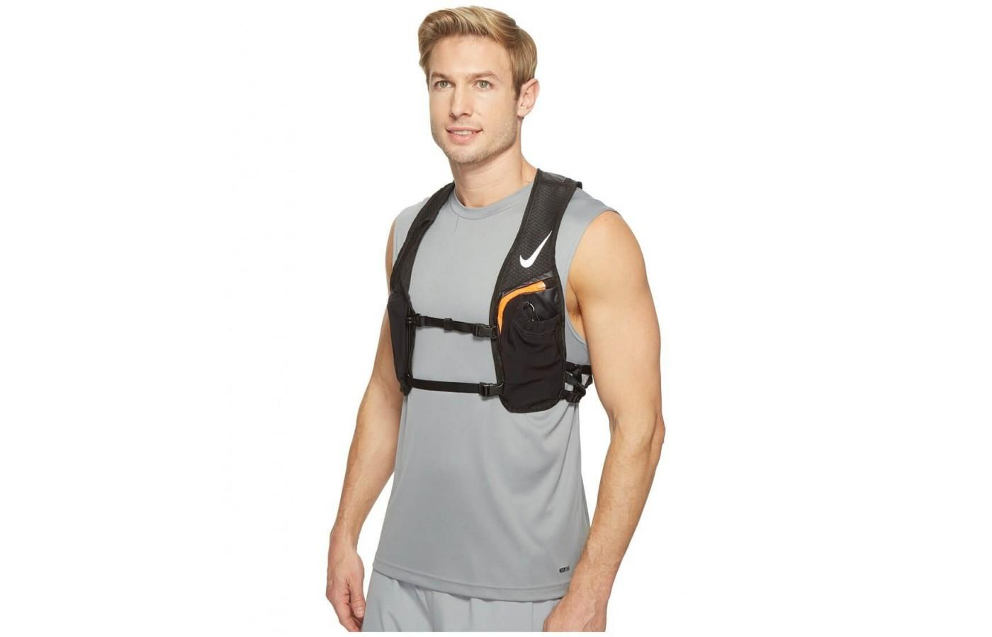 The Nike Hydration Race Vest features two easy to reach front-facing pockets