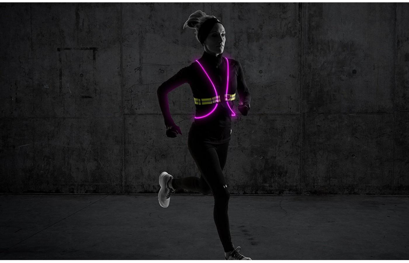This is a lightweight illumination vest that is offered in a unisex design.