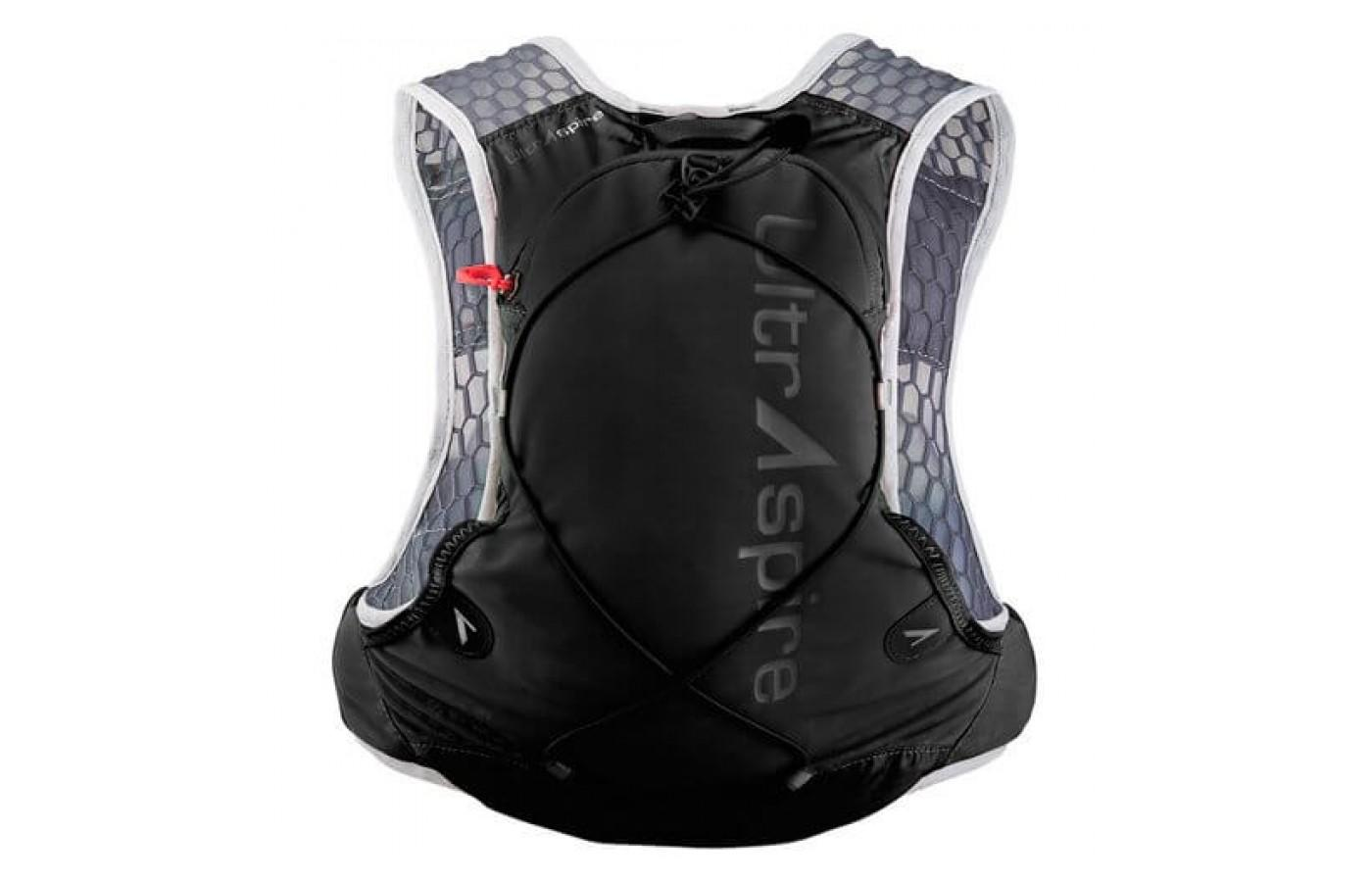 The UltrAspire Alpha 3.0 Vest's rear pouch can store a 2 liter water reservoir easily.