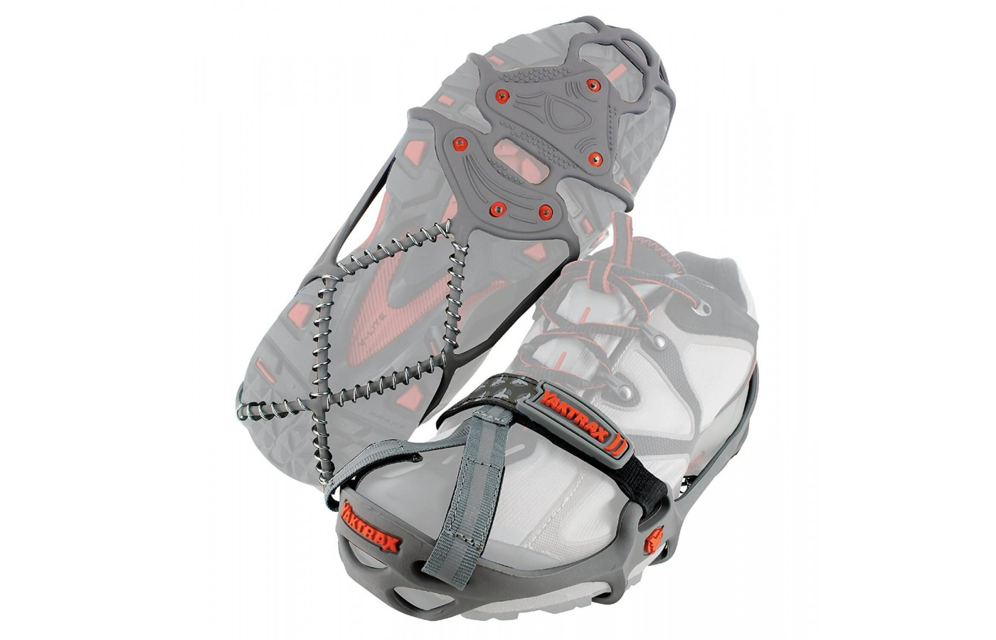 The traction devices come in sizes small, medium, large, and extra large to fit all foot sizes.
